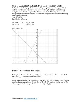 Introduction to Quadratics Graphically from Lines
