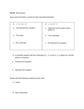 Introduction to Quadratics Lesson Test Version 1