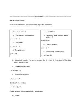 Introduction to Quadratics Lesson Test Version 1