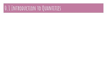 Introduction to Quantities