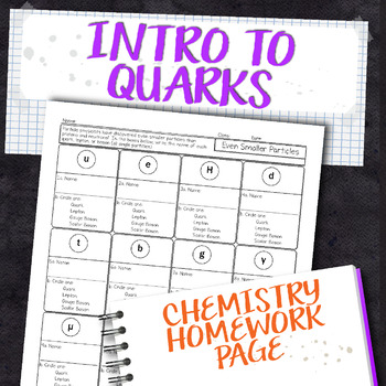 Introduction to Quarks Chemistry Homework Worksheet