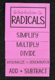 Introduction to Radicals (Algebra Foldable)