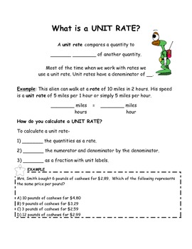 Introduction to Ratios, Rates, and Unit Rates Guided Student Notes