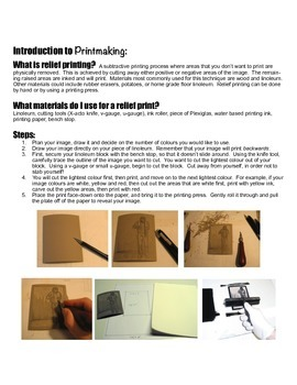 Introduction to Relief Printing Handout