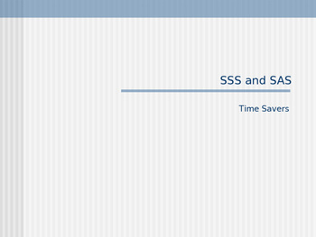 Introduction to SSS and SAS