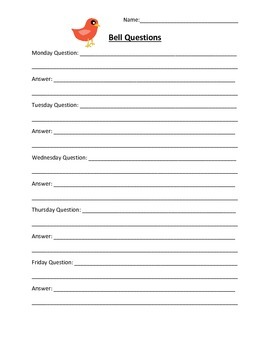 Characteristics of Life Bell Questions Sheet
