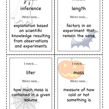 Introduction to Science I Have/Who Has vocabulary game - H