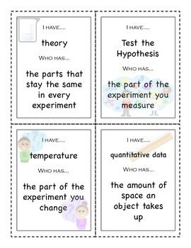 Introduction to Science I Have/Who Has vocabulary game