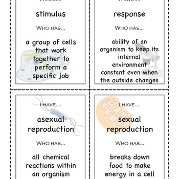 Characteristics of Life and Intro to Cells I Have/Who Has vocabulary game