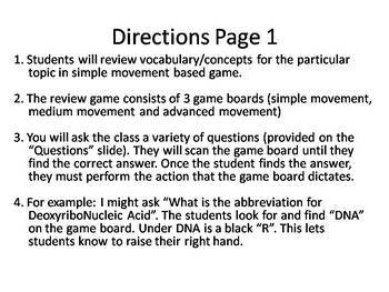 Introduction to Science --- Kinesthetic Review Game