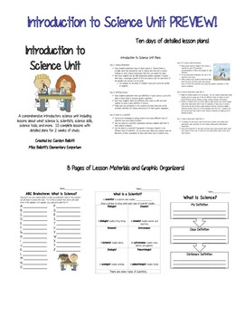 Introduction to Science Unit--Graphic Organizers, Lesson Plans, and PowerPoints