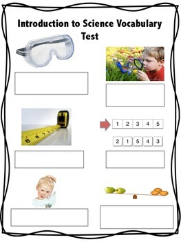 Introduction to Science Vocabulary and Test