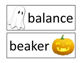 Introduction to Science Word Wall Cards - Halloween Theme