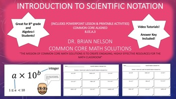 Introduction to Scientific Notation - PowerPoint lesson & Printables.