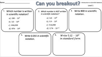 Introduction to Scientific Notation – Two Breakout Activities!