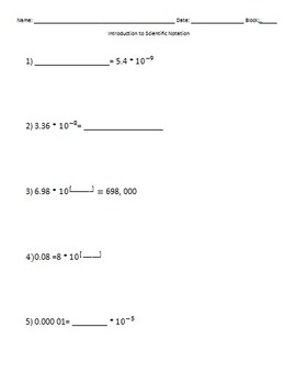 Introduction to Scientific Notation use after Powers of 10 EDITABLE