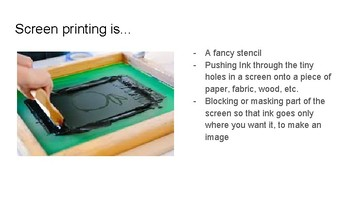 Presentation: Introduction to Screenprinting for middle or high school