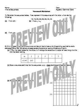 Introduction to Sequences Worksheet and Homework Worksheet Package