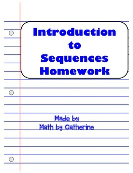 Introduction to Sequences Homework Worksheet