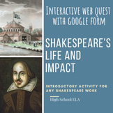 Introduction to Shakespeare Guided Google Form Web Quest;