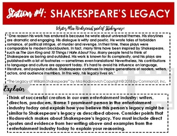 Introduction to Shakespeare: LEARNING STATIONS TO USE WITH ANY SHAKESPEARE TEXT