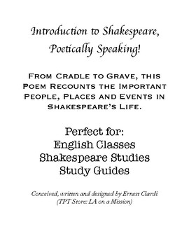 Introduction to Shakespeare, Poetically Speaking!