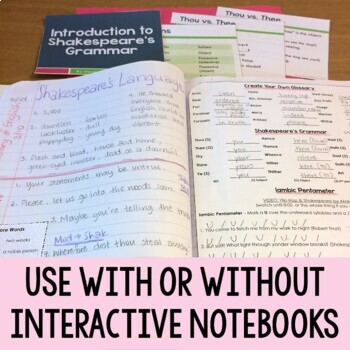 Introduction to Shakespeare's Language Webquest for Interactive Notebooks