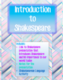 Introduction to Shakespeare with Shakespearean Language Activity