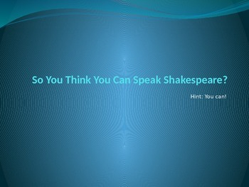 Introduction to Shakespeare's Language