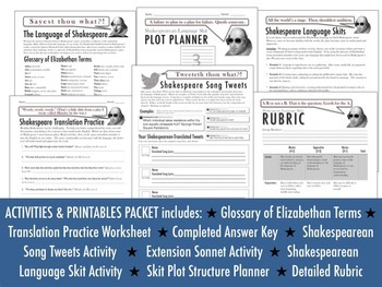 Introduction to Shakespeare's Language VALUE BUNDLE: Fun Activities & PowerPoint