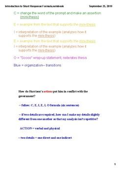 "Introduction to Short-Response Formula (using ""Harrison Bergeron"")"