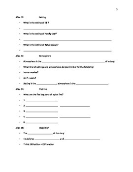 Introduction to Short Stories Power Point: Student notes handout