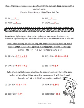 Introduction to Significant Figures Worksheet