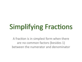 Introduction to Simplifying Fractions