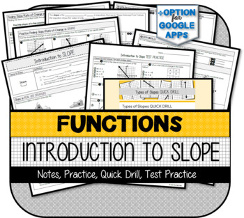 Introduction to Slope (NOTES, PRACTICE, QUICK DRILL, TEST PRACTICE)