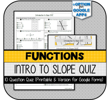 Introduction to Slope QUIZ (Printable & Version for Google Forms)