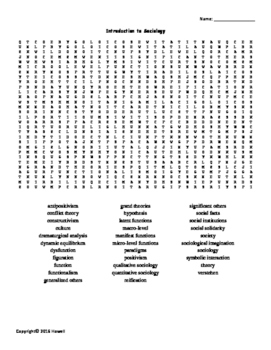 Introduction to Sociology Vocabulary Word Search