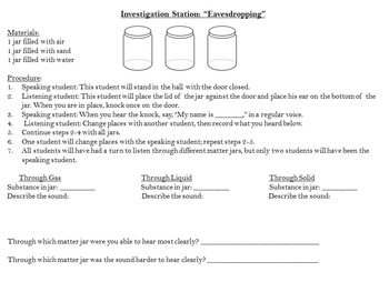Introduction to Sound with Investigation Stations- 5th grade