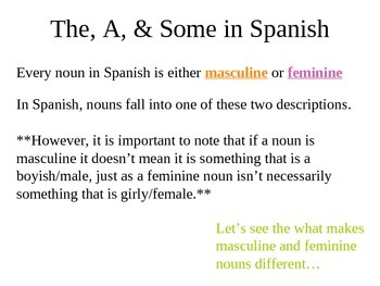 Introduction to Spanish Articles