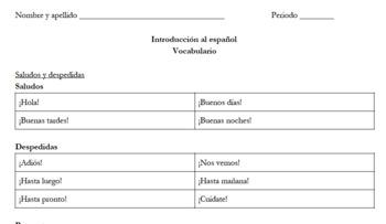 Introduction to Spanish Vocabulary Sheet