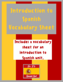 Introduction to Spanish Vocabulary Sheet