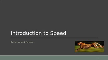 Introduction to Speed and Speed Formula