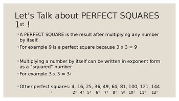 Introduction to Square Roots - PowerPoint