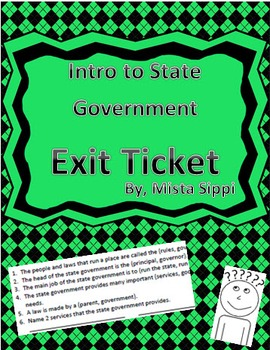 Introduction to State Government Exit Ticket Assessment