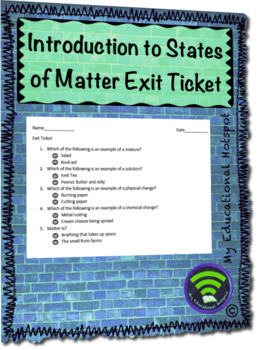 Introduction to States of Matter Exit Ticket