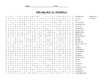 Introduction to Statistics Word Search