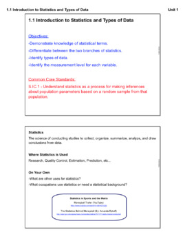 Introduction to Statistics and Types of Data (Lesson Plan with Homework)