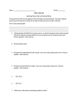 Introduction to Subtracting Integers Activity