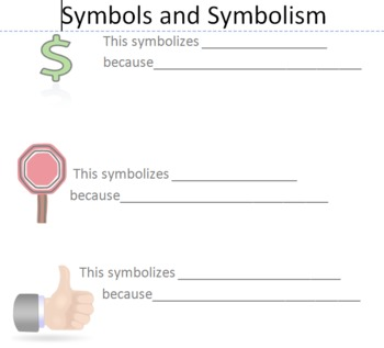 Introduction to Symbolism Worksheet