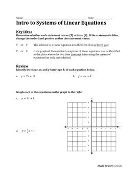 Introduction to Systems of Equations Worksheet